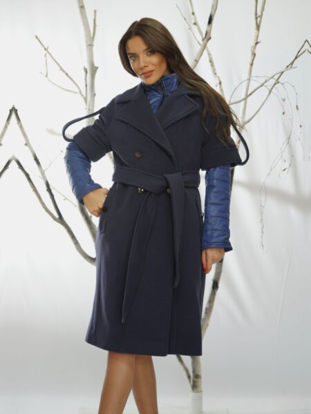 синьо палто с яке