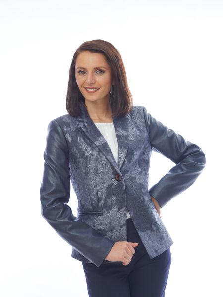 дамско тъмно синьо сако с кожени ръкави