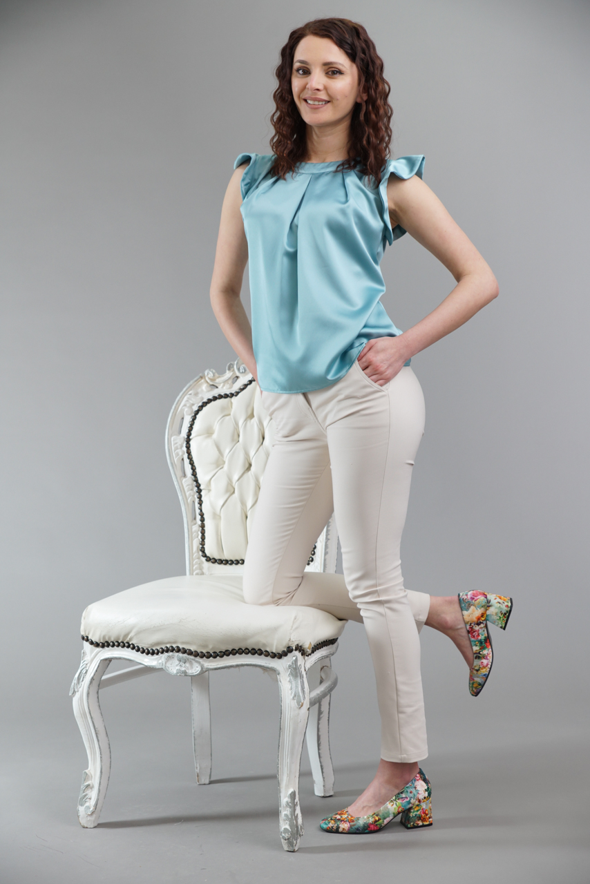 блуза в цвят аква