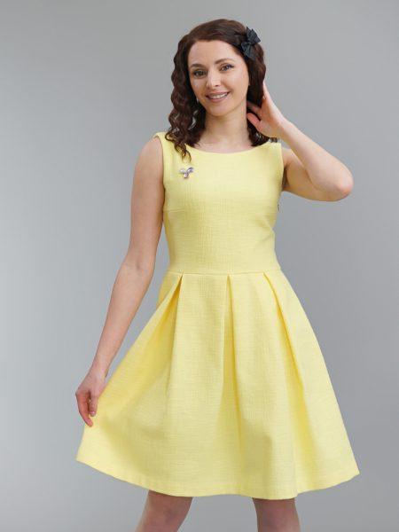елегантна жълта рокля