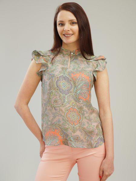 пъстра копринена блуза
