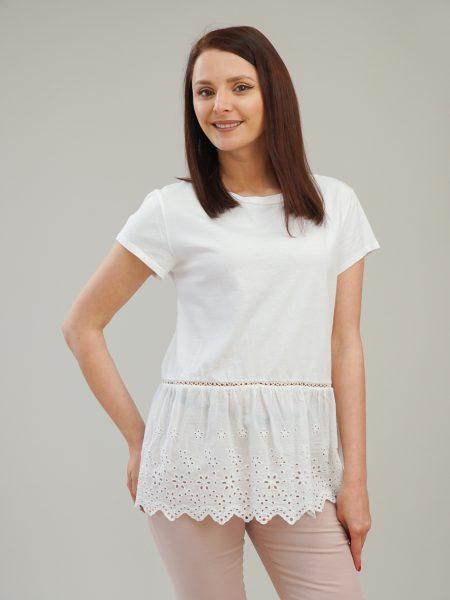 бяла памучна блуза