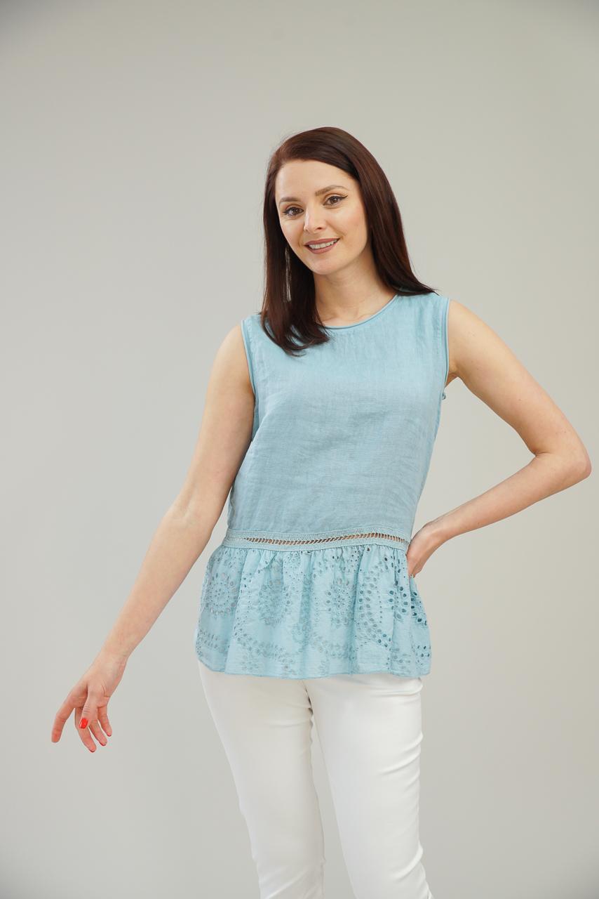 Ленена блуза с бродерия