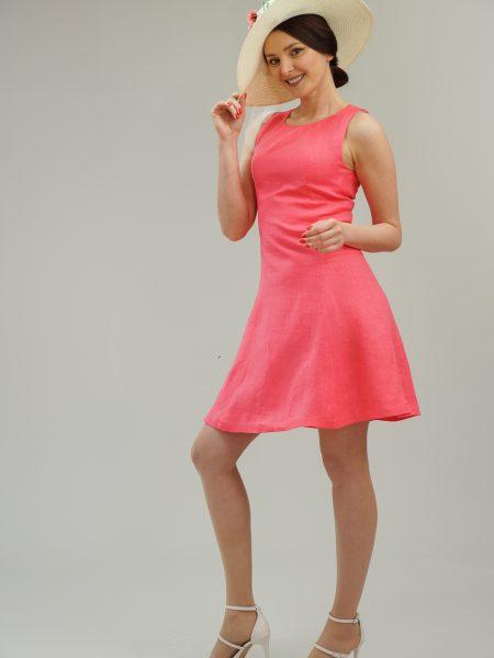 ленена рокля в розов цвят