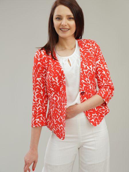 Червено ленено сако с принт