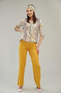 Дамски панталон цвят горчица с ширит