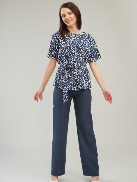 Дамски ленен панталон с прав крачол