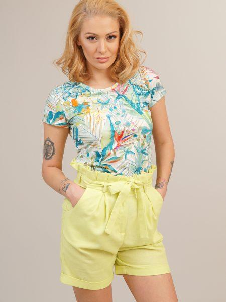 Дамски ленени къси панталонки в цвят лайм