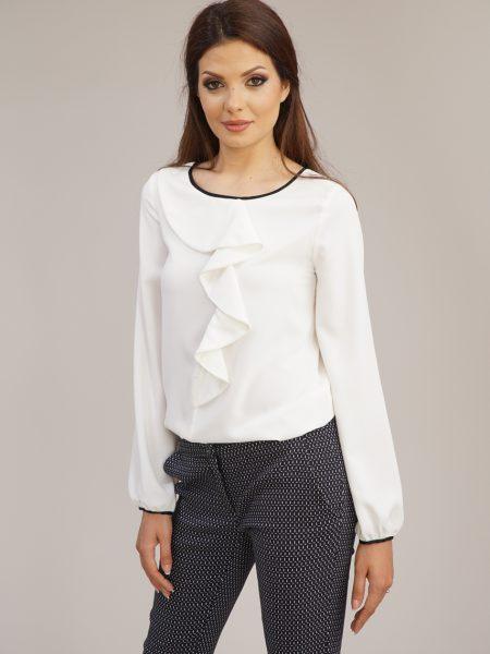 бяла жабо блуза