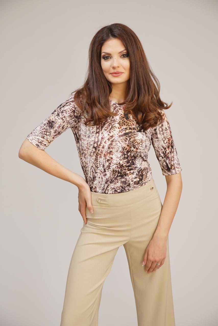 блуза с кафяв принт