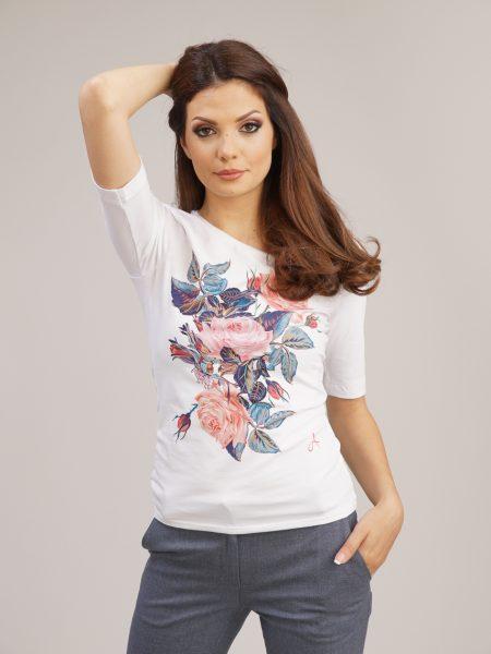 блуза с принт рози