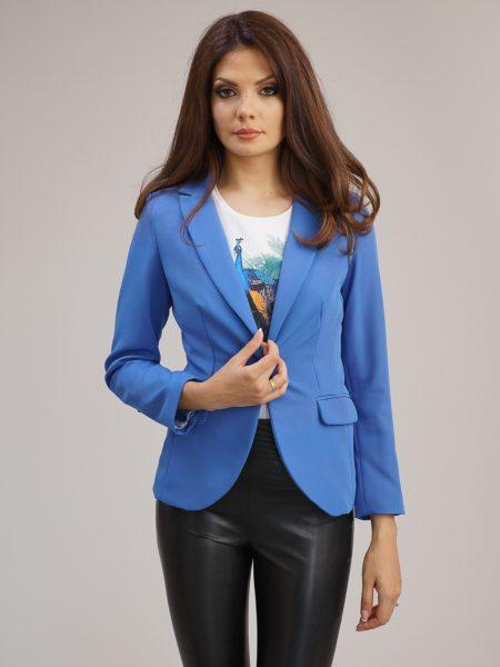 Елегантно сако в син цвят